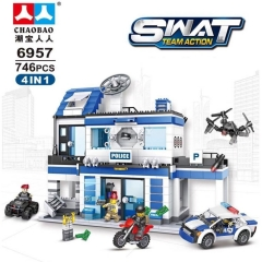 746 Pcs City Station Police 4 IN 1 Building Blocks Military SWAT Helicopter Car Team Bricks Educational Toys for Kids