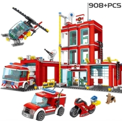 908 Pcs City Fire Station Building Blocks Helicopter Car Team Bricks Educational Toys for Kids