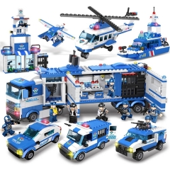 1115 Pcs Police Series Building Blocks Station Boat Airplane Helicopter Car Team Truck Bricks Educational Toys for Kids