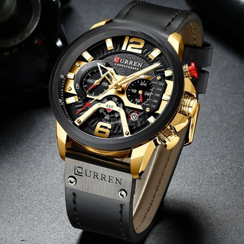 CURREN 8329 Casual Sport Watches Clock Top Brand Luxury Leather Wristwatch Military for Men Fashion Chronograph