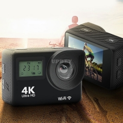 AK-S8 Sport Camera 4K / 24 fps Wifi Wide HD Double Display IPX8 Remote + Accessories