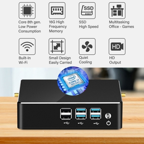 Mini Computer Desktop PC Gaming Office i3 i5 i7 SSD Wifi Intel 8th Gen. 15W USB 3.0 DDR4 Win 10 HDMI LAN VGA
