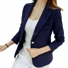 Women Fashion Slim Long Sleeve Solid Color Jacket Deep blue