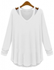 Leadingstar Women's Lady Fashion Casual V Neck Halter Long Sleeve Knit T Shirt Tops Blouse
