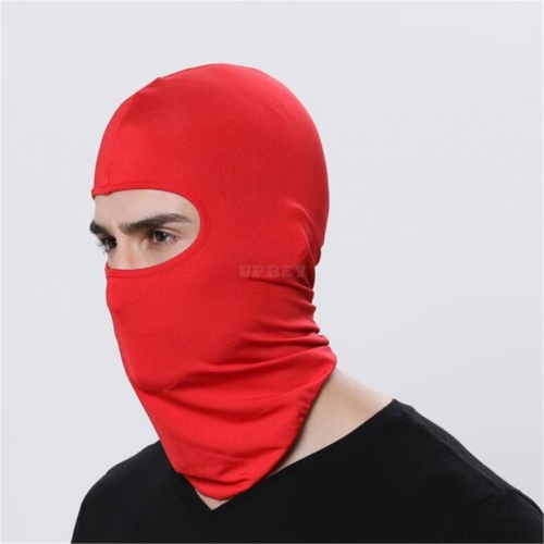 Outdoor Ski Motorcycle Cycling Balaclava Full Face Mask Neck Cover Ultra Thin  red_adjustable