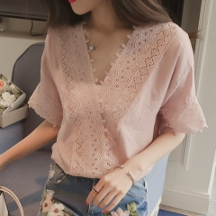 Women Casual Simple V Neck T-shirt Lace Hollow Loose All-match Tops Pink