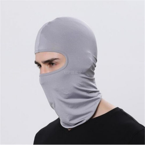 Outdoor Ski Motorcycle Cycling Balaclava Full Face Mask Neck Cover Ultra Thin light gray_adjustable