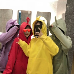 Women Cute Teletubby Design Sweatshirt Hoodies Loose Pullover Casual All-match Top Bean green