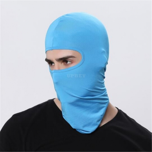 Outdoor Ski Motorcycle Cycling Balaclava Full Face Mask Neck Cover Ultra Thin sky blue_adjustable
