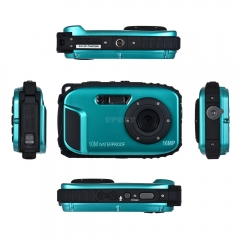"16MP 2.7 """" HD LCD Waterproof Digital Video Camera DVR Camcorder 8X ZOOM blue"
