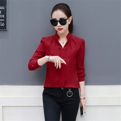 Office Lady Casual Long Sleeve Chiffon Shirt Blouse Red wine