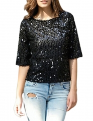 Women Sexy Sequins Round Neck T-shirt Three-quarter Sleeve Casual Tops Clothes black