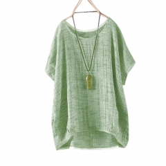 Women Round Collar Casual Flax Tops Fashion Breathable Solid Color Loose Tops green