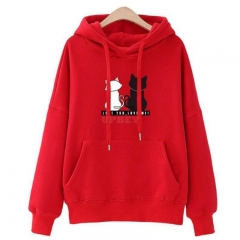 Women Fashion Loose Hooded Pullover Casual Long Sleeve Shirt Sweatshirt Hoodies Top red