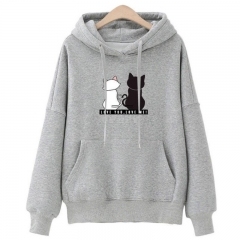 Women Fashion Loose Hooded Pullover Casual Long Sleeve Shirt Sweatshirt Hoodies Top gray