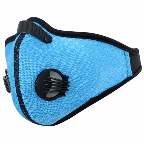 Anti-Pollution Cycling Masks Dustproof Activated Carbon Filtration Mask Sports Mesh Half Face Cover Blue_Free size