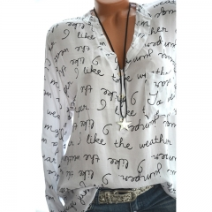 Women Casual Shirt V-Neck Letters Print Long Sleeve Fashionable Pullover Top white