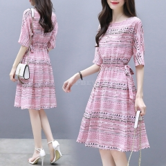 Summer Elegant ALine Ribbon Dress Boat Neck Thin Stripe Half Sleeves Casual Loose Dress Pink