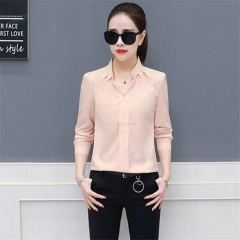Office Lady Casual Long Sleeve Chiffon Shirt Blouse Lotus color