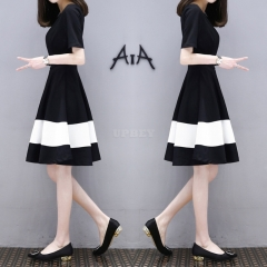 Women White Black Stripes Short Sleeve Thin ALine Dress Black and white stitching