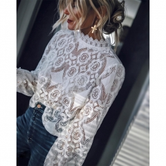 Women Sexy Solid Color See Through Long Sleeve Stand Collar Lace Shirt white