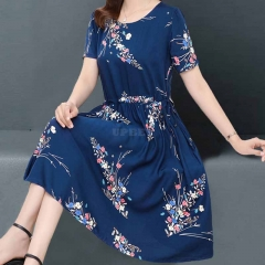 Women Floral Printed Short-Sleeved Middle-Waisted Casual Dress with Crew-Neck for Summer  Photo Color
