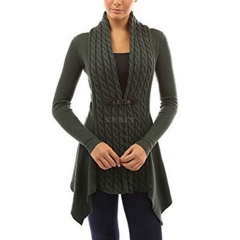 Women V-Neck Cardigan Long Sleeve Knitted Sweater Jacket Top for Ladies Army Green