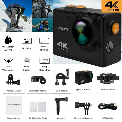 Pro Action Camera 4K WiFi Camcorder Waterproof DV Sports Camera Underwater Kit black