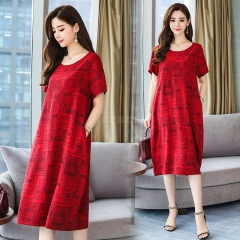 Women Summer Round Collar Loose Short Sleeve Printing Dress red