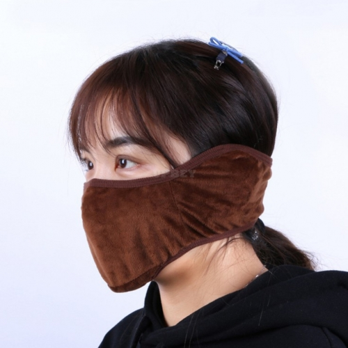 Winter Warm Windproof Breathable Face Mask Ears Earmuffs Comfortable Ear Protection Mask for Riding coffee color