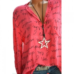 Women Casual Shirt V-Neck Letters Print Long Sleeve Fashionable Pullover Top red