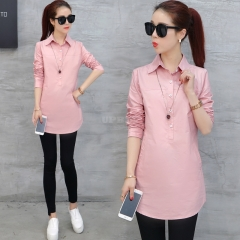 Women Loose Long-sleeved Business Suit Collar Solid Color Shirt Pink