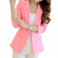 Women Casual All-match Solid Color Slim Long Sleeve Jacket Pink