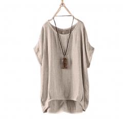 Women Round Collar Casual Flax Tops Fashion Breathable Solid Color Loose Tops gray