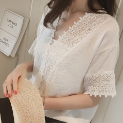 Women Casual Simple V Neck T-shirt Lace Hollow Loose All-match Tops white