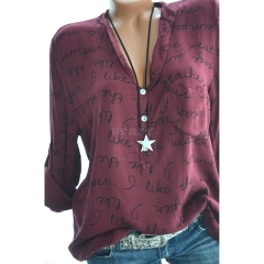 Women Casual Shirt V-Neck Letters Print Long Sleeve Fashionable Pullover Top Wine red