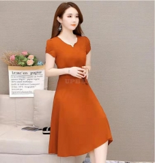 Woman Summer Loose Pure Color Short Sleeves Mid-length Dress Female Fashion Dress Orange