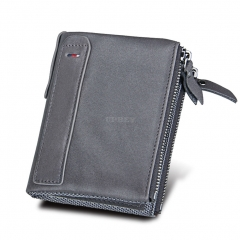 Genuine Cowhide Leather Men Wallets Double Zipper Short Purse Coin Pockets Anti RFID Card Holders gray
