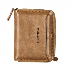 Men Retro Zipper PU Solid Color Short Purse  Brown