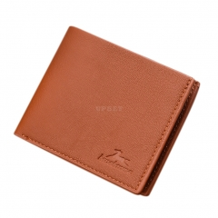 Men Boys Teens Xams Gift Concise Wearable PU Leather Multi Position Wallet Purse light brown