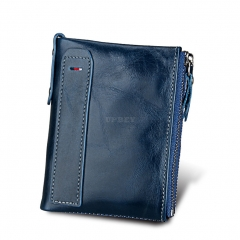 Genuine Cowhide Leather Men Wallets Double Zipper Short Purse Coin Pockets Anti RFID Card Holders blue
