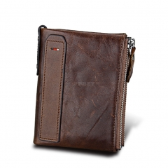 Genuine Cowhide Leather Men Wallets Double Zipper Short Purse Coin Pockets Anti RFID Card Holders coffee