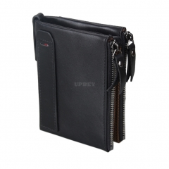 Genuine Cowhide Leather Men Wallets Double Zipper Short Purse Coin Pockets Anti RFID Card Holders Black