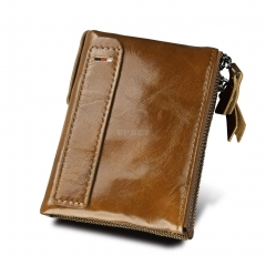 Genuine Cowhide Leather Men Wallets Double Zipper Short Purse Coin Pockets Anti RFID Card Holders Khaki