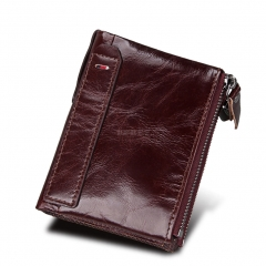 Genuine Cowhide Leather Men Wallets Double Zipper Short Purse Coin Pockets Anti RFID Card Holders red brown