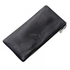 Men Leather Rectangle Wallet Soft Wear Resistance Retro Handbag Christmas Gift black