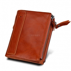 Genuine Cowhide Leather Men Wallets Double Zipper Short Purse Coin Pockets Anti RFID Card Holders orange