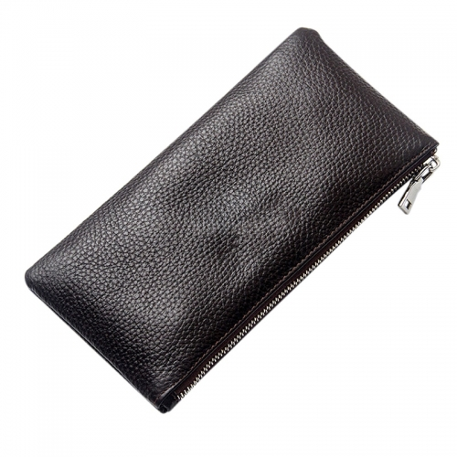 Men Leather Rectangle Wallet Soft Wear Resistance Retro Handbag Christmas Gift Brown