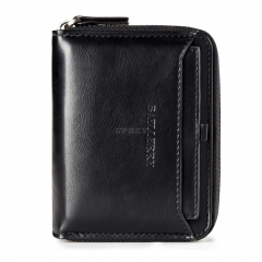Men Retro Zipper PU Solid Color Short Purse  Black