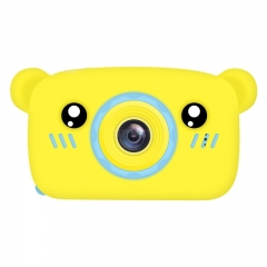 2 Inch HD Screen Digital Mini Camera Kids Cartoon Cute Camera Toys Outdoor Photography Props for Child  Yellow bear